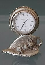More details for vintage swagman pewter clock. sleeping australian baby koala bear on a leaf.