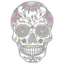 Azúcar Candy Calavera Hierro en Hotfix Cristal Diamante T Shirt Estampado parche Gem