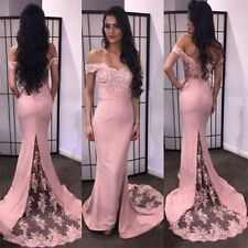 Off Shoulder Mermaid Long Evening Bridesmaid Dresses Lace Formal Prom Ball Gown