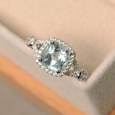 14K Solid White Gold 1.85 Ct Cushion Natural Diamond Natural Aquamarine Ring N M