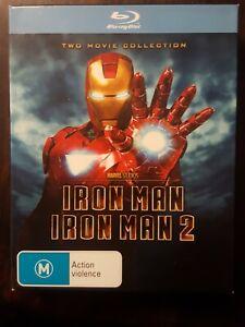 IRON MAN 1 and 2 DVD Blu-ray 2008) Robert Downey Jr. Numbered  BOX SET