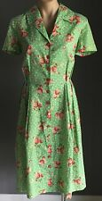 Vintage Tailormade Green Strawberry Print Fabric Pleated Dress Size 14/16