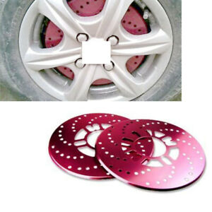 4x Red Aluminum Racing Disc Decorative Brake Rotor Cover Drum For Jeep Car