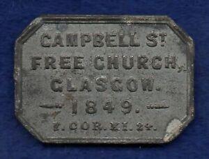 Scotland, Glasgow 1849 Communion Token (Ref. c8312)