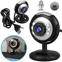 HD Night Vision 6 LED Webcam Camera with Microphone Clip-on for Computer Laptop