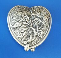 Vintage Silver Tone Double Twin Compact Hand Mirror with Floral Rose Design
