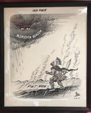 1965 Bruce Shanks VIETNAM Cartoon Art Political Monsoon Season Framed