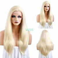 Fashion Heat Resistant Synthetic Wig Long Straight Women Blonde Lace Front Hair