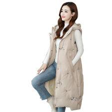 Women Cotton Vest Quilted Jacket Sleeveless Hooded Coat Long Waistcoat Winter