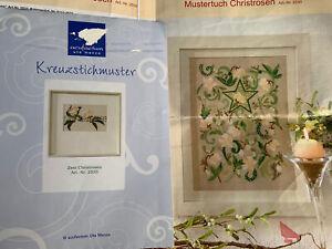 Acufactum 2 x Kreuzstichpackung/Vorlage -Zwei Christrosen+Christrosen Mustertuch