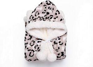 "Chic Home Snuggle Black Leopard Print Hoodie Hooded 51"" x 71"" Casual Sherpa Robe"