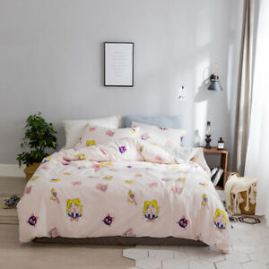 3/4PCs Anime Sailor Moon Bedding Cotton Duvet Quilt Cover Set Pillowcase Home