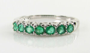 9k 9CT WHITE GOLD COLOMBIAN EMERALD ART DECO INS ETERNITY RING FREE RESIZE