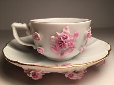 Antique Meissen Demitasse Cup and Saucer with Applied 3D Flowers