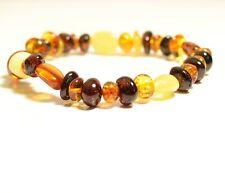 Natural Baltic Amber baroque & olive multicolor adult bracelet  c-4640