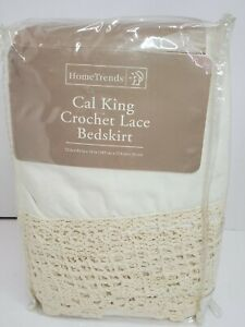 "NEW CAL KING CROCHET LACE BEDSKIRT HOME TRENDS 72"" x 84"" BED MATTRESS LINER"