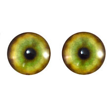 Pair of 20mm Tiger Glass Eyes Cabochons Set for Jewelry, Taxidermy, Doll Making