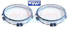 "Pair of Wipac 5 3/4"" Headlight Headlamp Chrome Surrounds Trims Bezels Fixings"