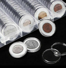100Pc 4-Size Clear Round Coin Capsule Container Storage Box Holder Case Plastic
