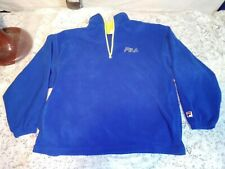 Vintage Fila Mens Large Fleece Sweatshirt Pullover Blue Yellow 90's