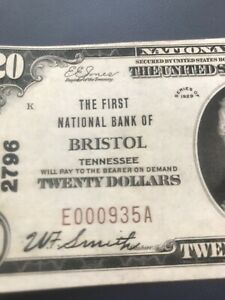 Bristol Tennessee 1929 T1 $20  First National bank , uncirculated