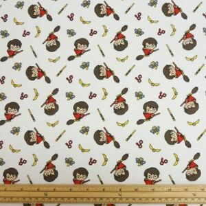 """Fabric Harry Potter Licensed 100% Cotton 112cm (44"""") wide Broomstick White"""