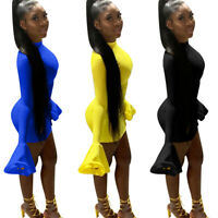 Women's Long Flare Sleeves Solid Color Bodycon Mini Pencil Dress Casual Club
