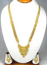 "Handmade Indian Fashion Jewelry Gold Plated 14"" Long Necklace Earrings set"