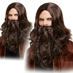 Adult Viking Brown Wig & Beard Set Mens Medieval Fancy Dress Game Of Thrones