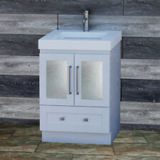 "24"" Bathroom White Vanity 24-inch Cabinet Solid Surface Top integrated sink B24S"