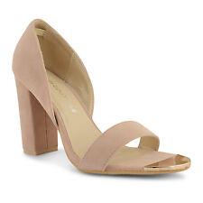 NEW Faux Suede Beige (Nude) Block High Heel Open Toe Shoes - US 7.5/UK5/ EU38