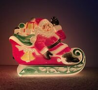 Vintage Empire 1970 Santa on his Sled Sleigh Blow Mold Christmas Decoration