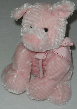 Mary Meyer Pink Plush Stuffed Floppy Pig Ribbon Bow Brown Stitching 10""