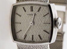 Authentic 1970's Longines 18k White Gold Mechanical WATCH 51.5 gram 7' inch