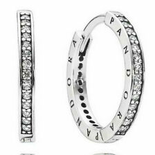 Genuine Pandora Sterling Silver Pave Hoop Signature Earrings - 290558CZ