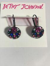 $30 Betsey Johnson Hematite  Confetti Cluster Drop Earrings B-129