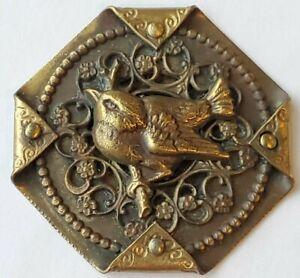 "Vintage Style Handkerchief Bird Button, Brass, by Faith Strobel, 1 1/2"""
