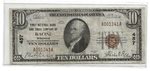 1929 $10.00 Bank Note The First National Bank and Trust Company RACINE Wisconsin