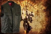 Mens 'Anarchy' Motorcycle Biker Waistcoat Full Real Leather Black Vest Jacket