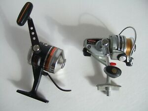 Spinning Reel Lot of (2) Zebco Omega 144 and Daiwa Minispin Silver and Black