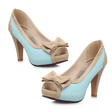 Lolita Bowknot Dress Shoes High Heels Womens Open Toe Lolita Pumps Shoes Plus SZ