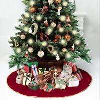 120cm Christmas Tree Skirt Cloth Ruffle Cotton Border Xmas Floor Mat Home Decor