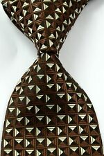Luxury Hand Woven 100% Pure Silk Tie Brown with Gold & Brown Diamond Pattern