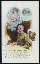 USA soldier wife in cigarette smoke Political propaganda WWI ww1 war postcard