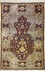 Handsome Hereke - 1940s Antique Turkish Rug - Silk with Gold Thread 3.8 x 4.1 ft