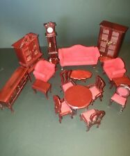 Dollhouse Furniture lot of 18 pcs Mahogony Style Hutch Armoire sofa dresser more