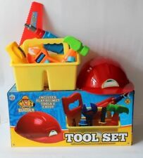 TOOL SET AND CADDY BOX WITH TOOLS AND HELMET CHILDS ROLE PLAY BUILDING SET BRAND