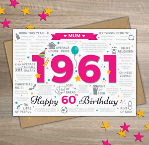 1961 MUM Happy 60th Birthday Memories / Year of Birth Facts Greetings Card Pink