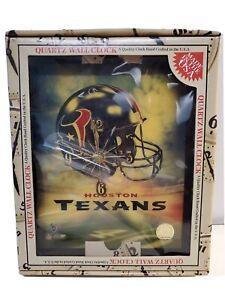 "HOUSTON TEXANS NFL Quartz Wall Clock 10"" x 12""  New in Box   battery operated"