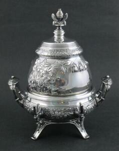 MIDDLETOWN #1006 Victorian BUTTER DISH Floral REPOUSSE Quadruple Silver c.1890's